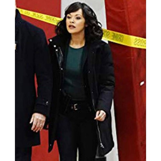 Bridget Moynahan Blue Bloods Black Suede Leather Coat