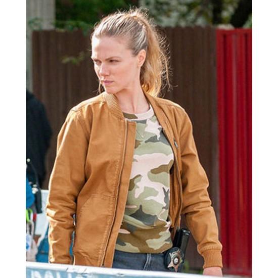 Chicago PD Tracy Spiridakos Brown Cotton Jacket