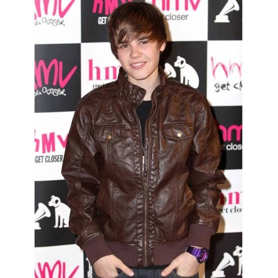 Bomber Justin Bieber Brown Leather Jacket