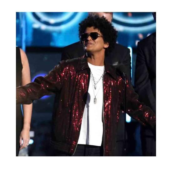 Bruno Mars Brothers Red Sequins Jacket
