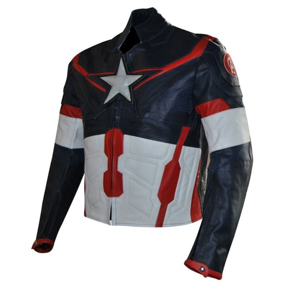 Avengers Age of Ultron Film Captain America Leather Jacket