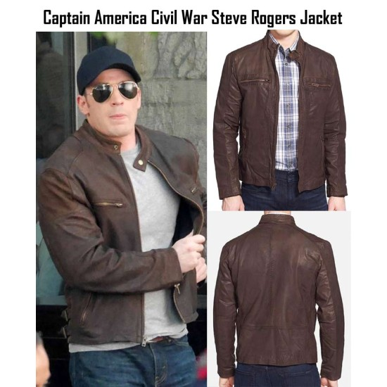 Captain America Civil War Movie Steve Rogers Brown Leather Jacket