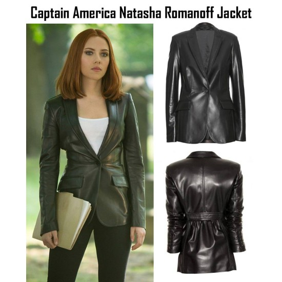 Captain America The Winter Soldier Natasha Romanoff Leather Blazer