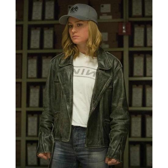 Captain Marvel Brie Larson Green Leather Jacket