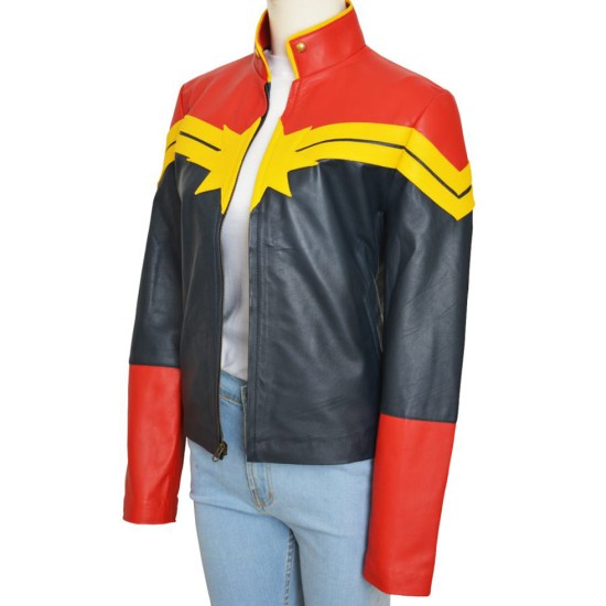 Captain Marvel Red and Blue Leather Jacket