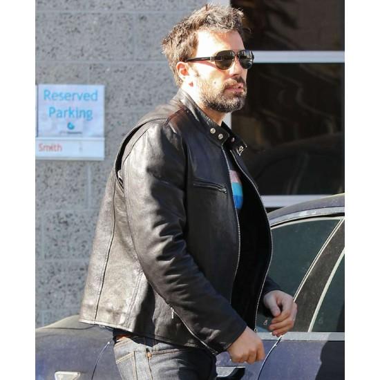 Ben Affleck Casual Wear Black Leather Jacket