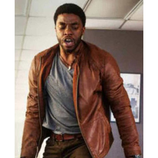 Chadwick Boseman Message From The King Brown Leather Jacket