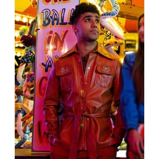 Chaneil Kular Sex Education Red Leather Jacket