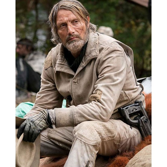 Chaos Walking Mads Mikkelsen Off White Bomber Jacket