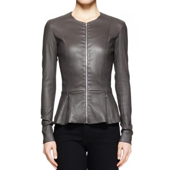 Charleston Tucker Peplum Gery Leather Jacket
