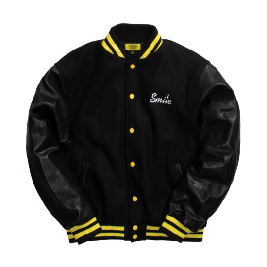 Chinatown Market Smile Black Varsity Jacket