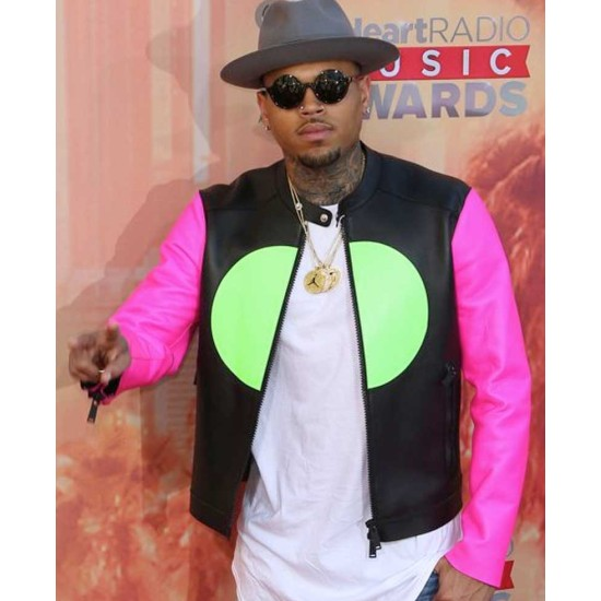 Chris Brown Leather Jacket with Pink Sleeves