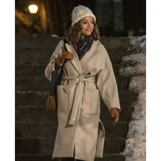 Amber Stevens West Christmas Unwrapped Grey Coat