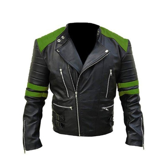 Men's Black and Green Brando Motorcycle Leather Jacket