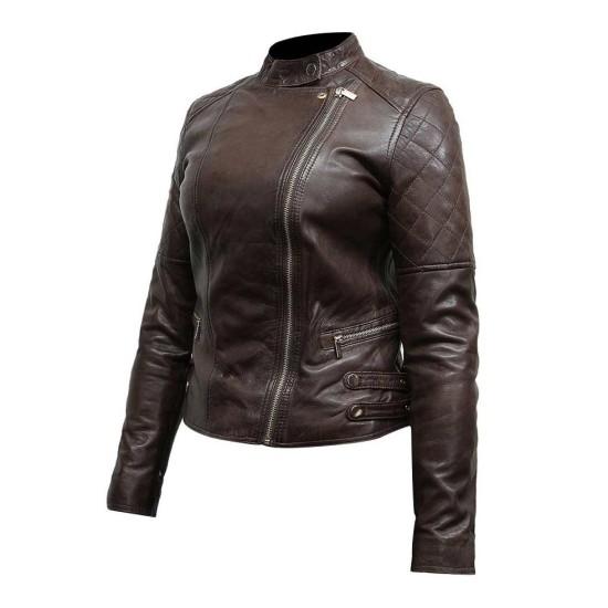 Women's Asymmetrical Classic Biker Dark Brown Leather Jacket
