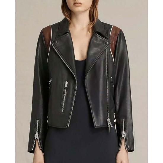 Cobie Smulders Stumptown Biker Black Leather Jacket