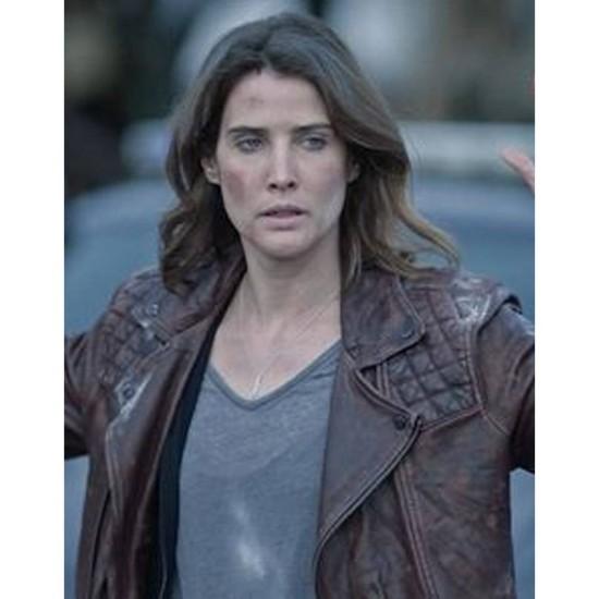 Cobie Smulders Stumptown Burgundy Leather Jacket