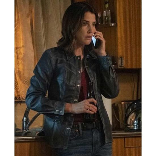 Cobie Smulders Stumptown Snap Tab Closure Leather Jacket