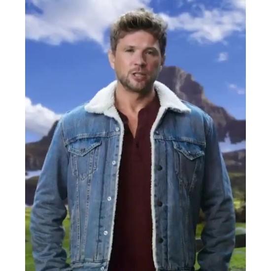 Big Sky Ryan Phillippe Blue Shearling Jacket
