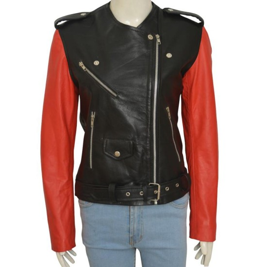 Hailey Baldwin Collarless Belted Leather Jacket