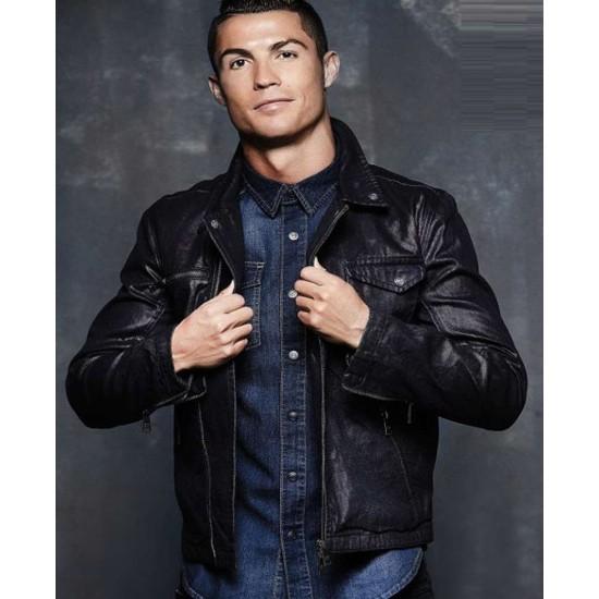Footballer Ronaldo Black Leather Jacket