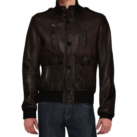 Cristiano Ronaldo Distressed Brown Leather Jacket