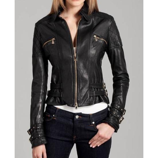 Women's Buckle Straps Design Black Leather Moto Jacket