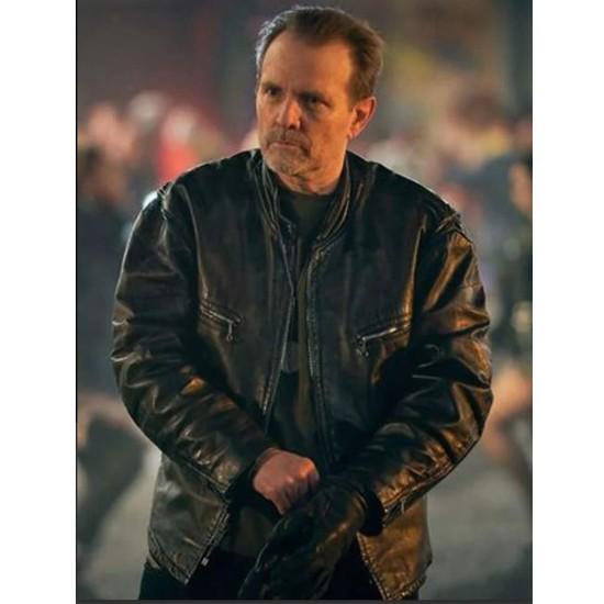 Curfew Michael Biehn Black Leather Jacket
