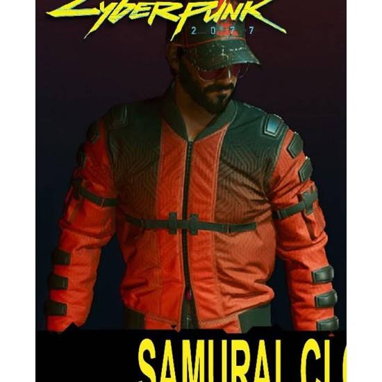 Samurai Cyberpunk 2077 Red Bomber Jacket