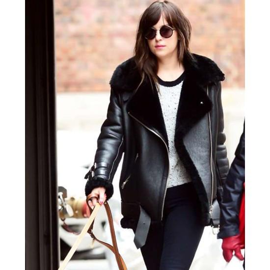 Dakota Johnson Black Leather Shearling Jacket