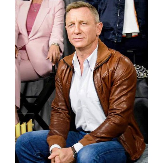 Daniel Craig Knives Out Brown Leather Jacket