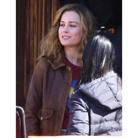 Brie Larson Captain Marvel Pilot Brown Leather Jacket