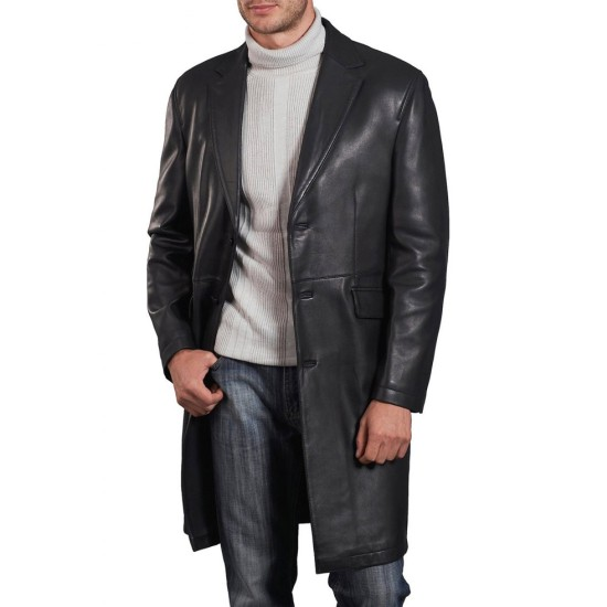 David Boreanaz Angel Black Leather Long Jacket