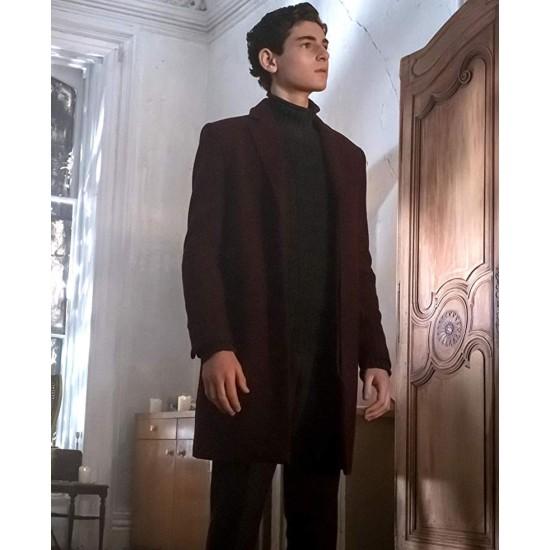 David Mazouz Gotham Burgundy Coat