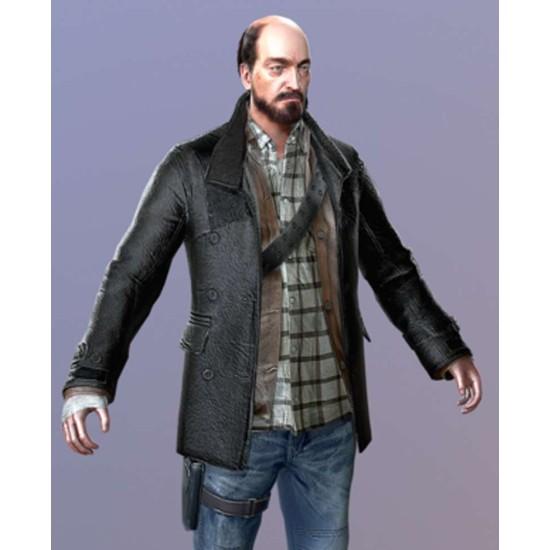 DR4 Tom Pickton Black Leather Coat