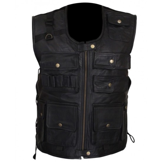 Dean Ambrose Black Leather Bomber Vest