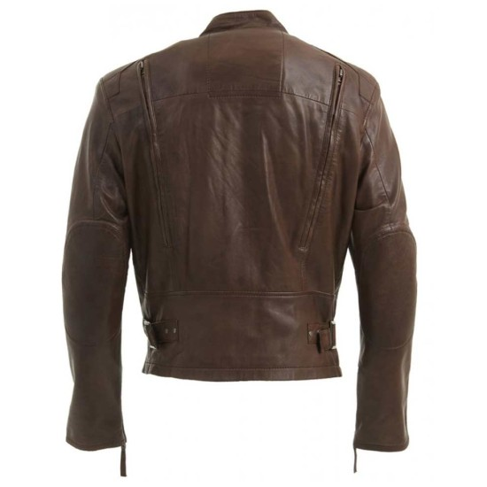 Men's Designer Biker Style Dark Brown Leather Jacket