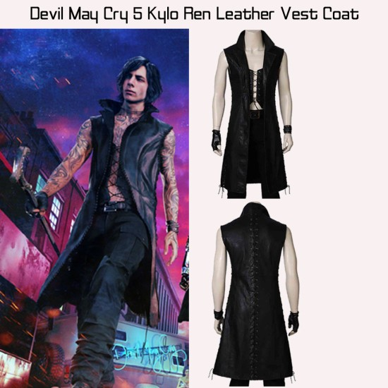 Devil May Cry 5 Kylo Ren Leather Vest Coat