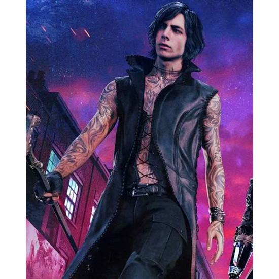 Devil May Cry 5 V Black Leather Coat