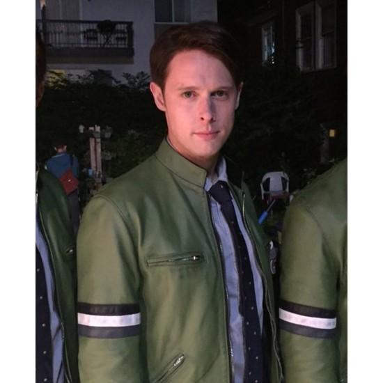 Dirk Gently Samuel Barnett Green Leather Jacket