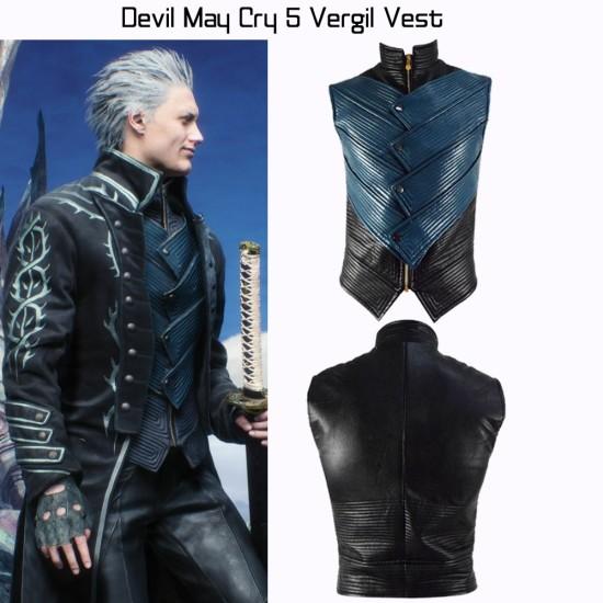 Vergil Blue and Black Leather Vest