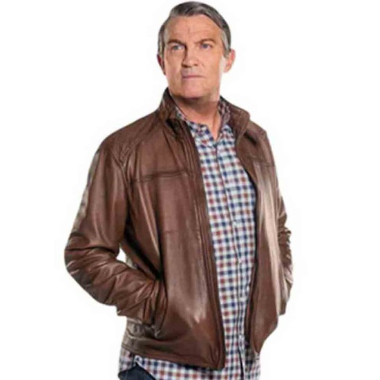 Doctor Who Bradley Walsh Brown Leather Jacket