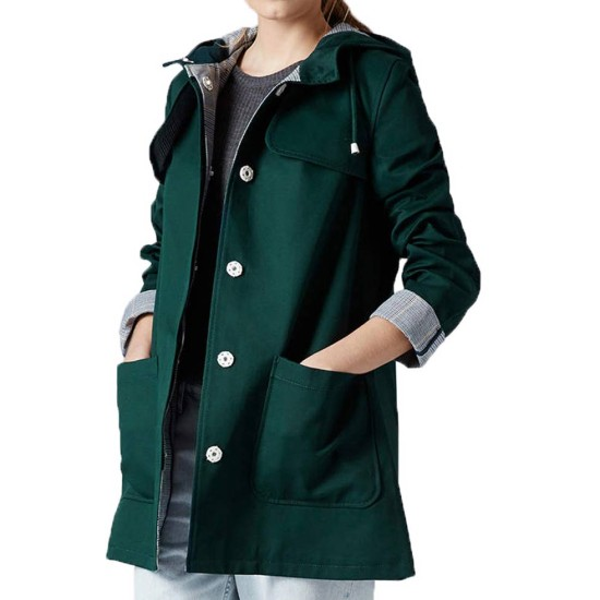 Doctor Who Jenna Coleman Green Hooded Jacket