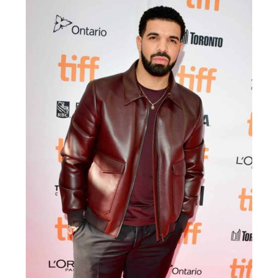 Drake Film Festival Burgundy Bomber Leather Jacket
