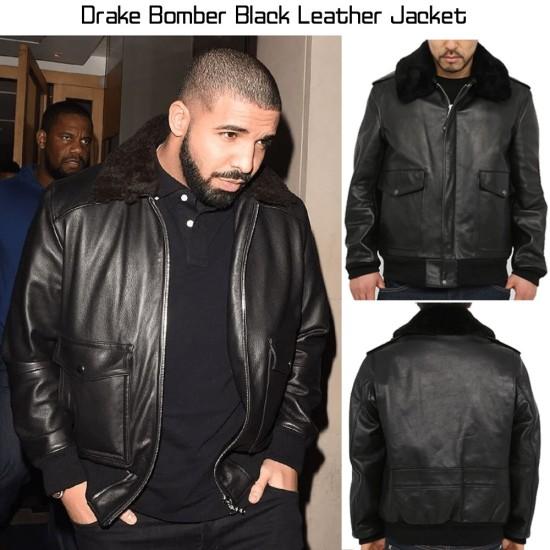 Drake Bomber Black Leather Jacket