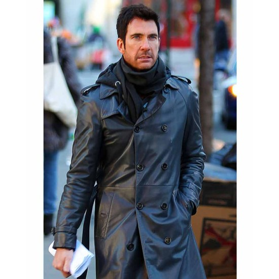 Dylan Mcdermott Belted Black Leather Coat