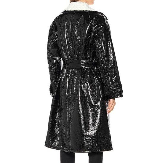 Dynasty Elaine Hendrix Black Shearling Coat