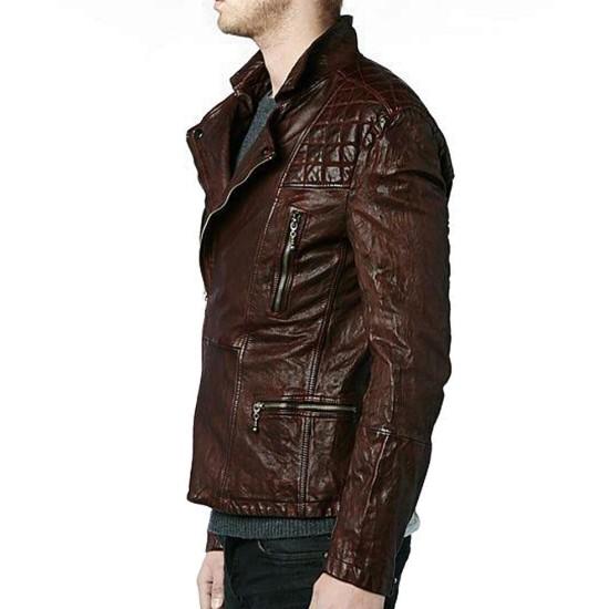 Eddie Redmayne Motorcycle Brown Leather Jacket