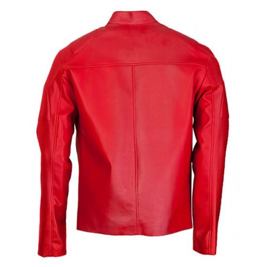 Elegant Design Red Biker Jacket for Men