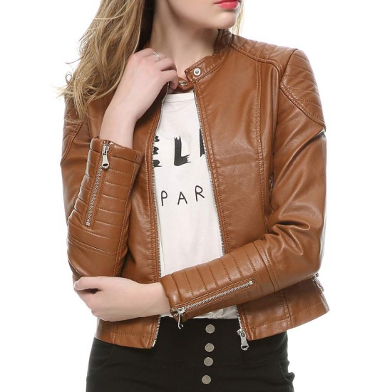 Women's Elegant Zipper Faux Leather Moto Jacket